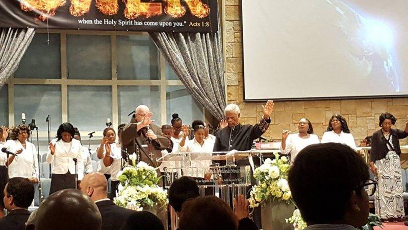 Multifaith Thanksgiving Celebration at Revivaltime Tabernacle Hurricane Relief Fr. Tim MacDonald Pastor James