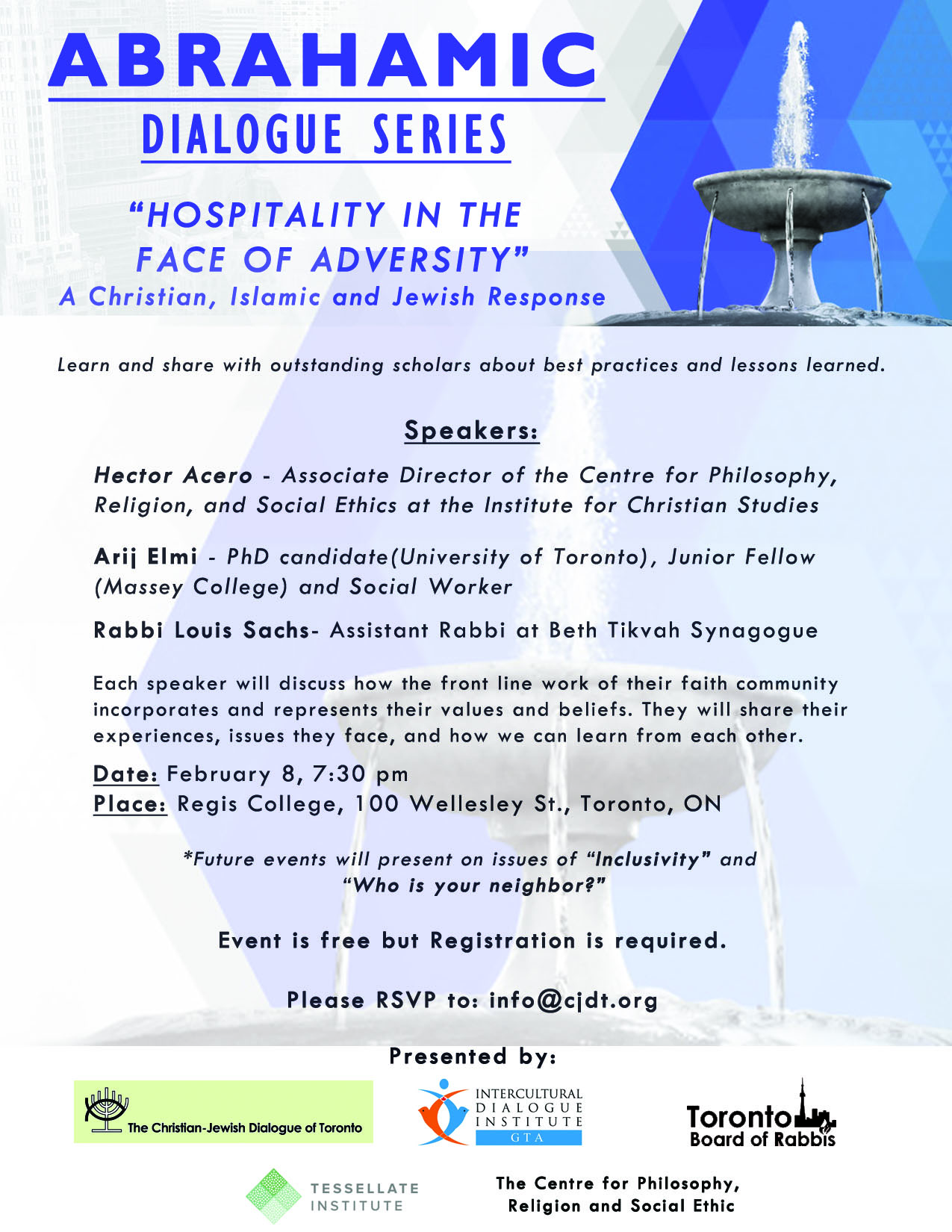 Abrahamic Dialogue Series: Hospitality in the Face of Adversity- Feb